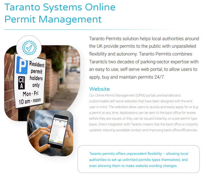 Taranto Permits Brochure Screenshot